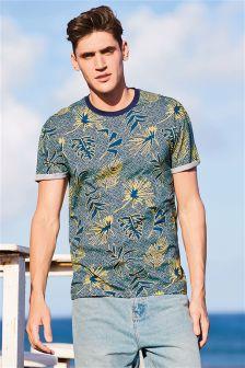 Geo Leaf Print T-Shirt