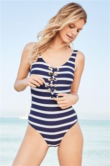 Stripe Eyelet Swimsuit