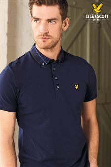 Lyle & Scott Navy Check Collar Poloshirt