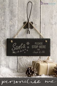 Personalised Santa Stop Here Slate Sign By Loveabode