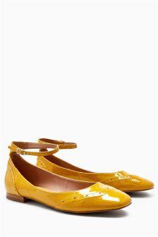 Patent Ankle Strap Brogue Ballerinas