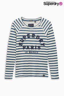 Superdry Blue Stripe Appliqué Raglan Long Sleeve Tee