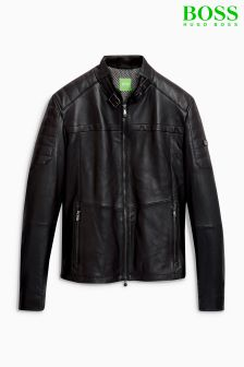Boss Green Black Jeron Leather Jacket