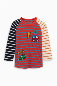Long Sleeve Mixed Stripe Badge T-Shirt (3mths-6yrs)