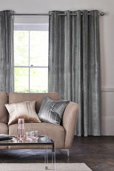 Velvet Metallic Stripe Eyelet Curtains