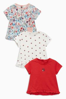 Ditsy Short Sleeve T-Shirts Three Pack (3mths-6yrs)