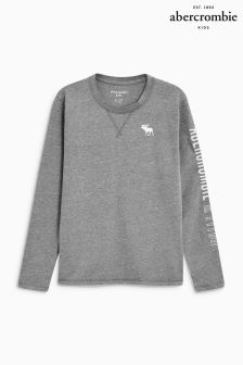 Abercrombie & Fitch Grey Long Sleeve Logo Tee