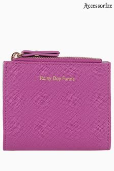 Accessorize Pink Rainy Days Slogan Mini Wallet