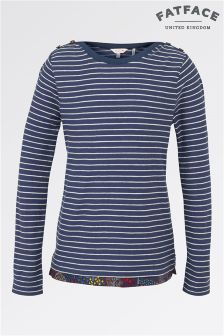 Fat Face Light Navy Long Sleeve Bretton Stripe Tee