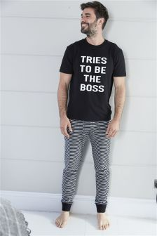 Boss Print Long Set (Mens)