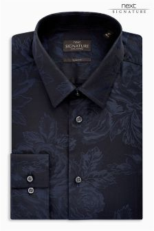 Signature Floral Jacquard Slim Fit Shirt