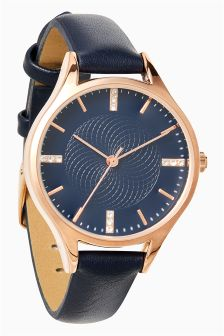 Textured Dial Strap Watch