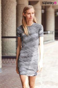 Exclusive To Label Superdry Black Space Zip Back Tee Dress