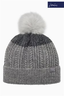 Joules Grey Cable Bobble Hat