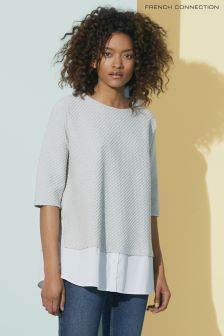 French Connection Grey Dixie Texture Top