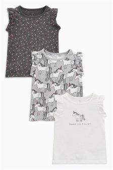 Unicorn Frill Sleeve T-Shirt Three Pack (3mths-6yrs)