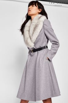 Ted Baker Grey Narnia Faux Fur Coat