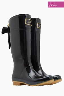 Joules Black Premium Bow Welly