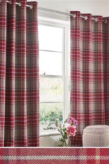 Tweedy Linton Check Eyelet Curtains