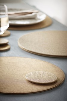 Set of 4 Reversible Glitter Placemats & Coasters