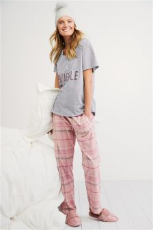 Jersey Top With Woven Bottoms Slogan Pyjamas