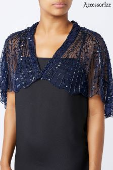 Accessorize Blue Gatsby Embellished Cape