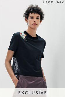 Mix/A V Robertson 3D Embellished Mesh Back T-Shirt