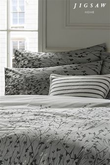 Jigsaw Expressionist Grey Floral Housewife Pillowcase