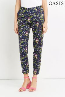 Oasis Multi Navy Topaz Bird Structure Trouser
