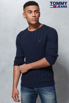 Tommy Jeans Blue Cable Knit Sweater