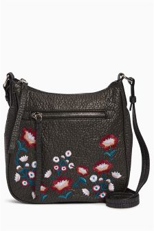 Washed Embroidered Messenger