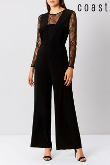 Coast Black Chi Lace Sleeve Jumpsuit