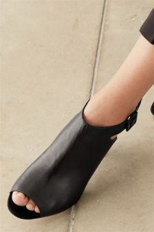 Leather Peep Toe Shoe Boots