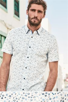 Short Sleeve Floral Double Collar Shirt