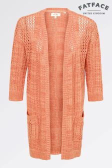 Fat Face Tangerine Olivia Open Stitch Cardi