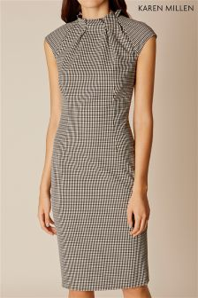 Karen Millen Black Micro Check Pleat Detail Dress