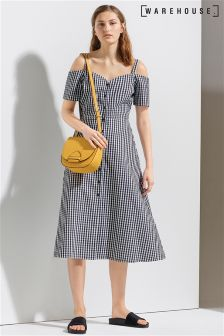 Warehouse Multi Gingham Button Front Dress