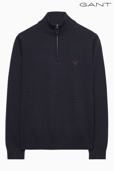 Gant Blue Contrast Cotton Zip Knit