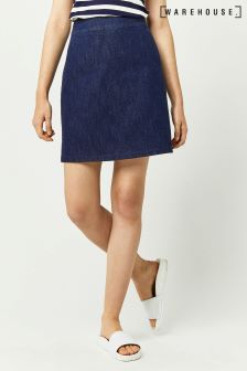 Warehouse Indigo A Line Denim Skirt