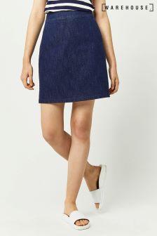 Warehouse Indigo A Line Denim Skirt