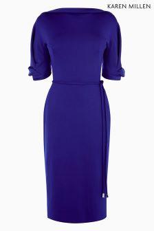Karen Millen Blue Big Sleeve Jersey Dress