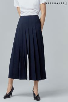 Warehouse Navy Pleated Trousers