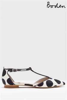 Boden White Angelica T-Bar Flat