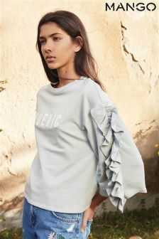 Mango Light Teal Ruffle Sleeve Slogan Tee