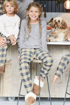 Girls Check Woven Bottom Pyjamas (3-16yrs)