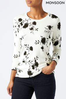 Monsoon Cream Ada Mono Print Jumper