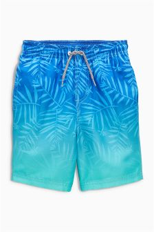 Ombre Leaf Print Swim Shorts (3-16yrs)