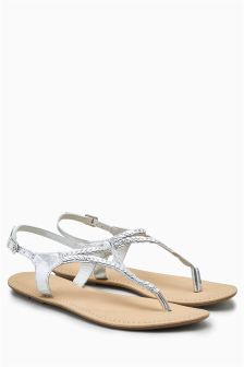 Leather Plait Toe Thong Sandals