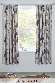 Barney Bear Pencil Pleat Blackout Curtains