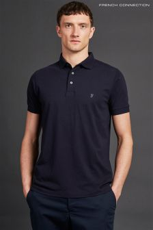French Connection Navy Short Sleeve Basic Logo Polo